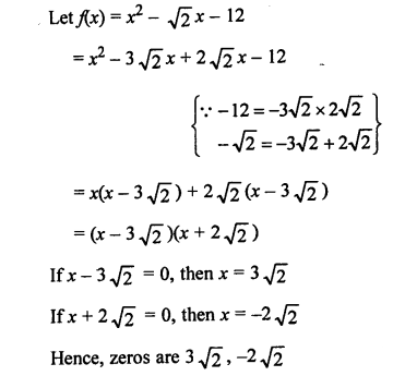RS Aggarwal Class 10 Solutions Chapter 2 Polynomials MCQS 1