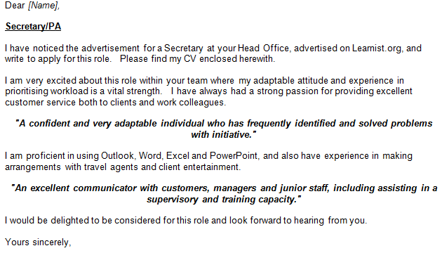 PA Job Application And Cover Letter Example