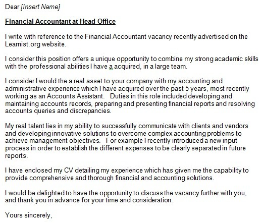 accountant cover letter example - Cover Letter Accounting Position