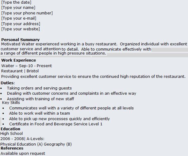 Waitress Resume Example [msbiodiesel.us]