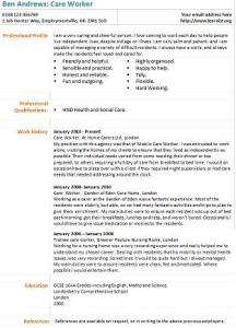 care worker cv example