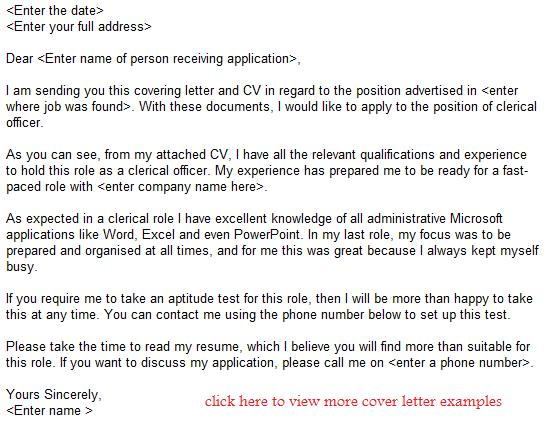 clerical officer job application letter examples