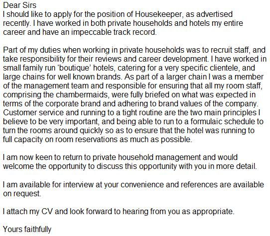 sample lifeguard cover letter - Sample Housekeeper Cover Letter