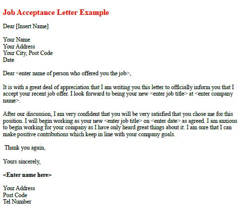 acceptance letter for job acceptance letter example learnist org 11625