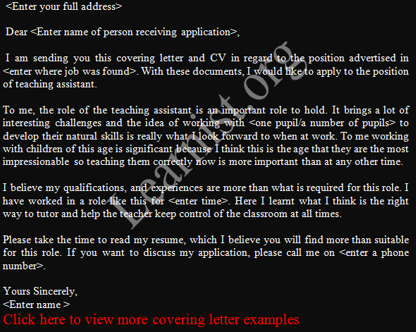 Teaching Assistant Job Application Letter