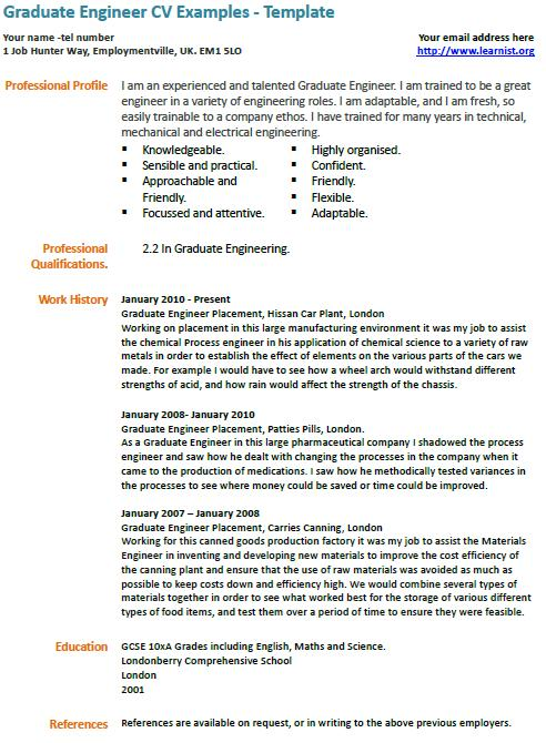 how to write an engineering cv