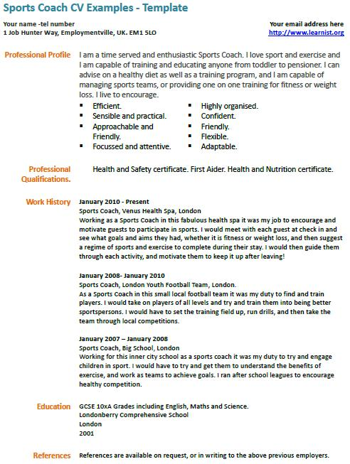 sports coach cv example learnist org