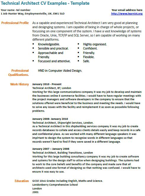 technical cv example learnist org