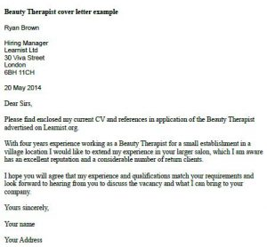 beauty therapy cover letter