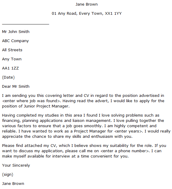 Junior Project Manager Cover Letter Example Learnist Org
