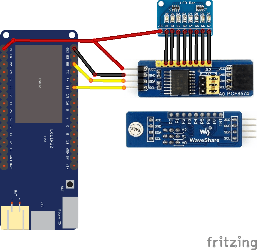 esp32 and pcf8574 layout