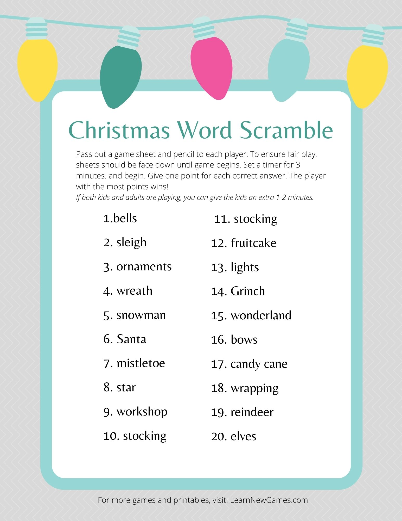 Free Christmas Word Scramble Game Learn New Games