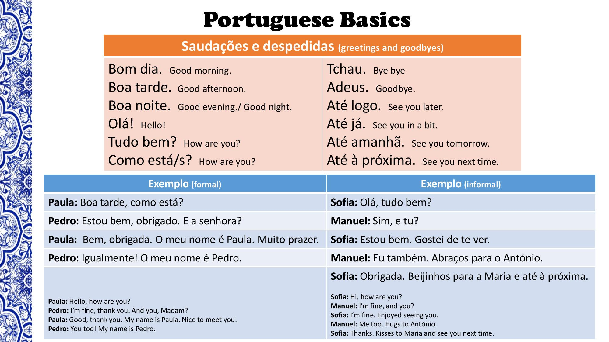 Portuguese Basics A Survival Kit