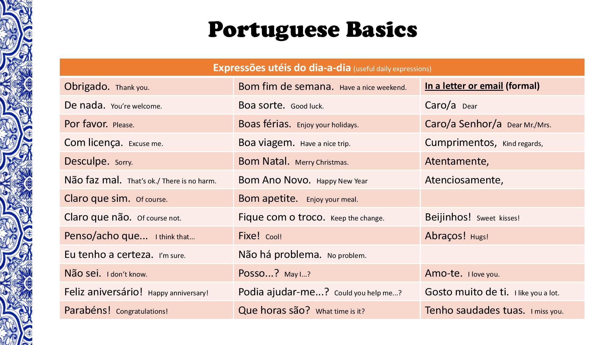 Portuguese Practice Worksheet