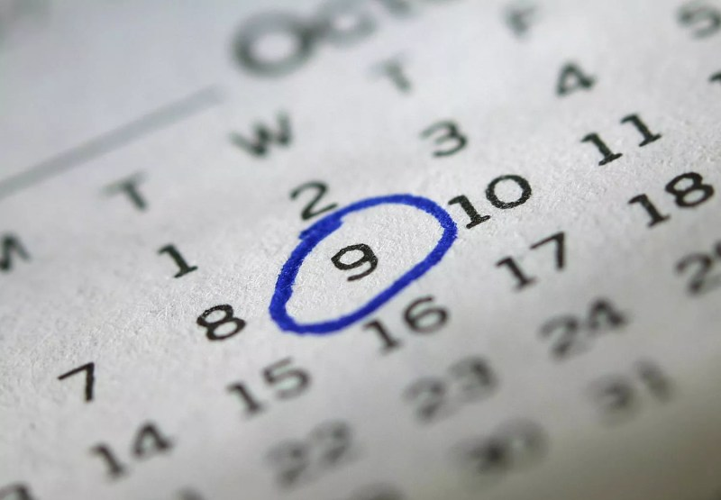 Mercredi 9 octobre sur un calendrier