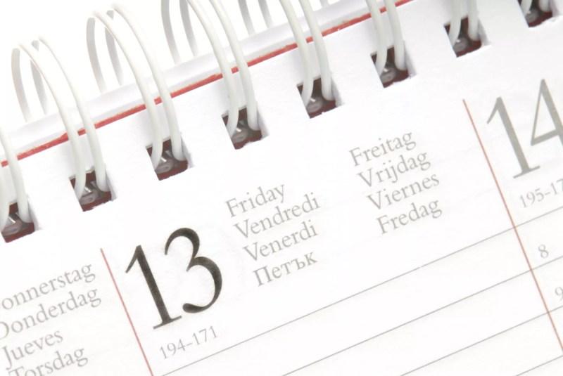 Vendredi sur un calendrier