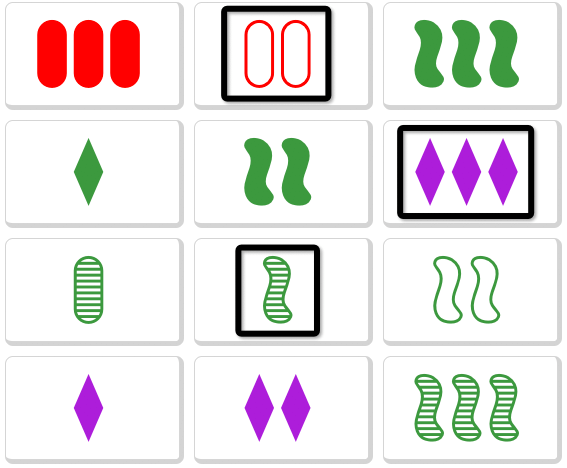 Set card game with images that are all different
