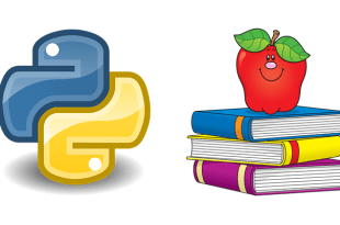 Python logo next to a stack of school books with an apple on top used to help demonstrate how to teach coding for kids