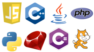 Logos of eight different programming languages