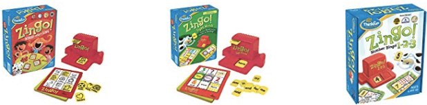 Multiple pictures of Zingo family games