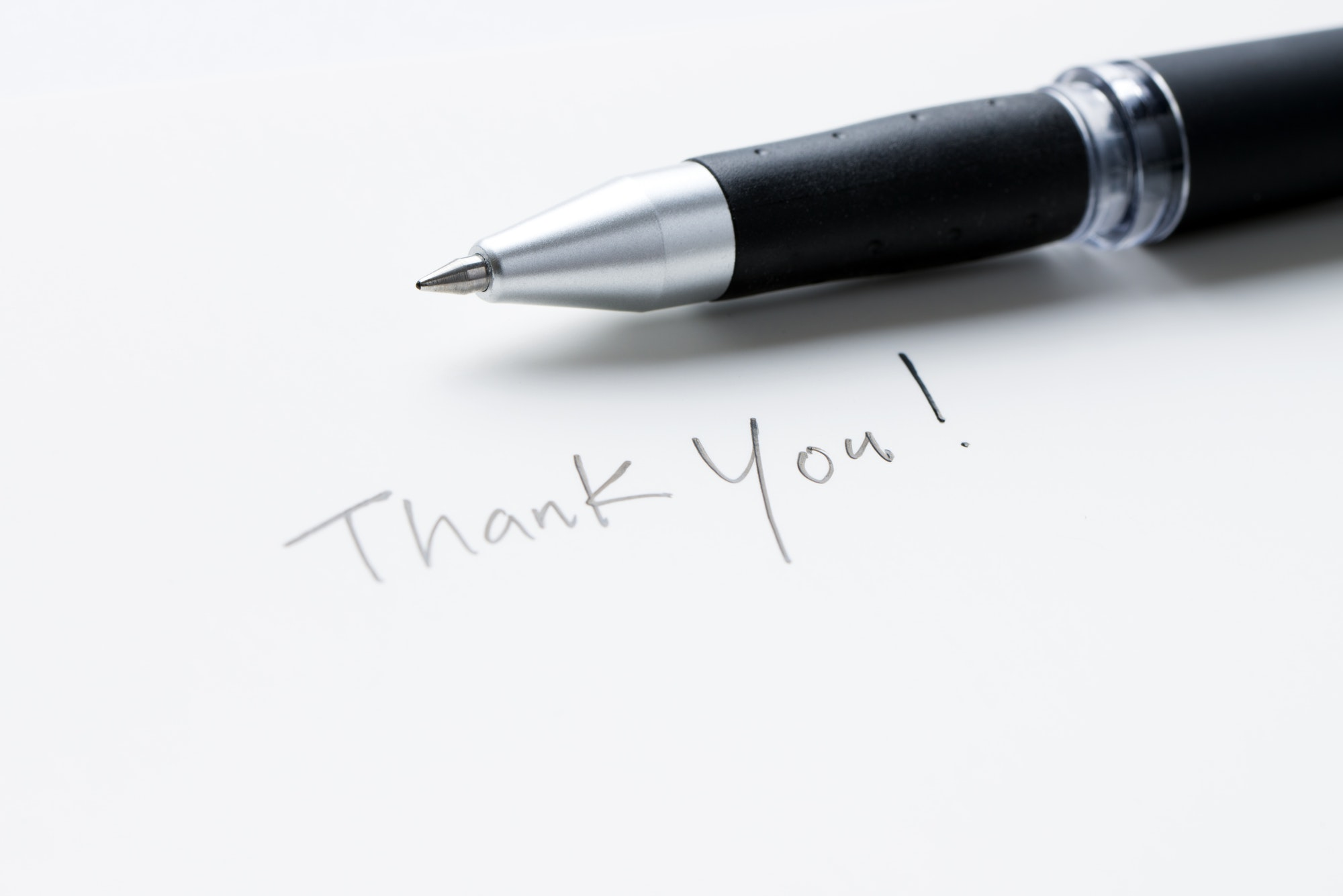 Hand writing thank you note