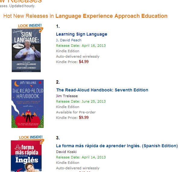 Screenshot of the book at Amazon in the Hot New Releases