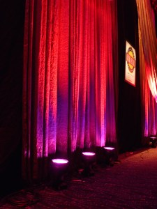 LED moving lights on drape