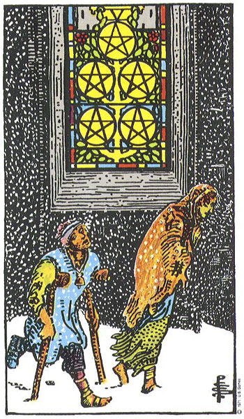 Image result for 5 of pentacles
