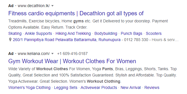 Google AdWords ads for specific keywords