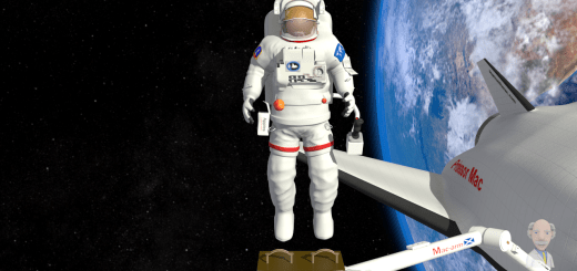 Professor Mac is shown floating in space with Earth in the background