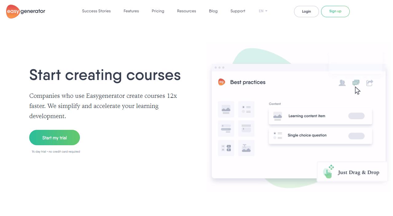 A screenshot showing a part of EasyGenerator's website.
