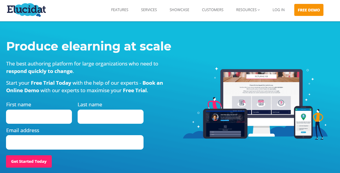 A screenshot showing a part of Elucidat's website.