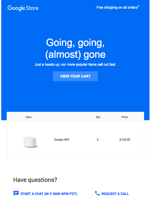 Google store's email example on urgency