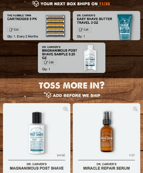 Dollar Shave Club's recommendation email example