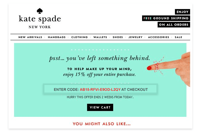 Kate Spade's engagement email example
