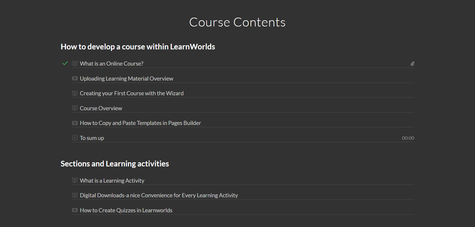 course content template screenshot