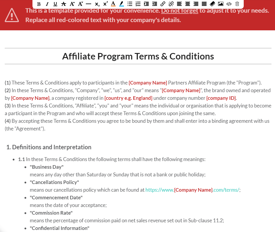affiliate program terms and conditions