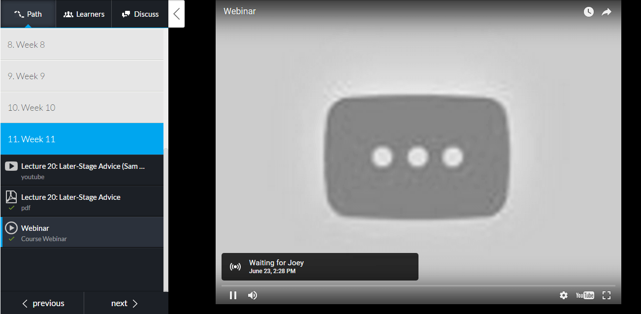 how a webinar looks inside LearnWorlds' video player