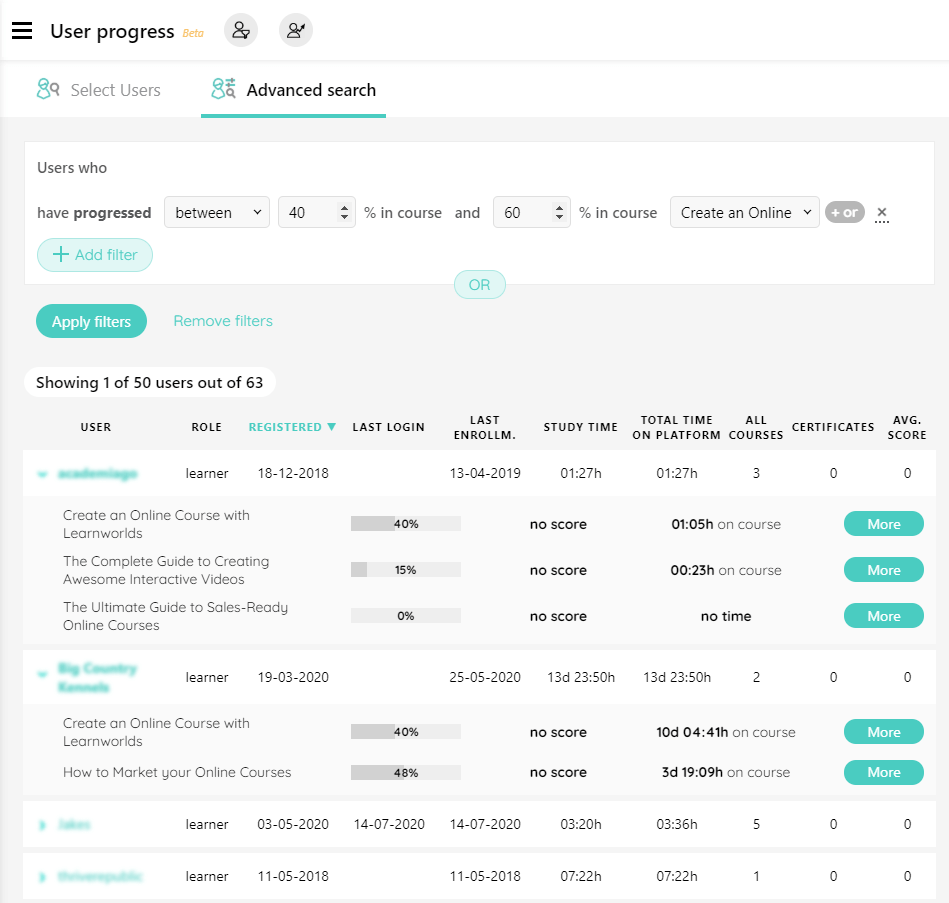 advanced search in user progress