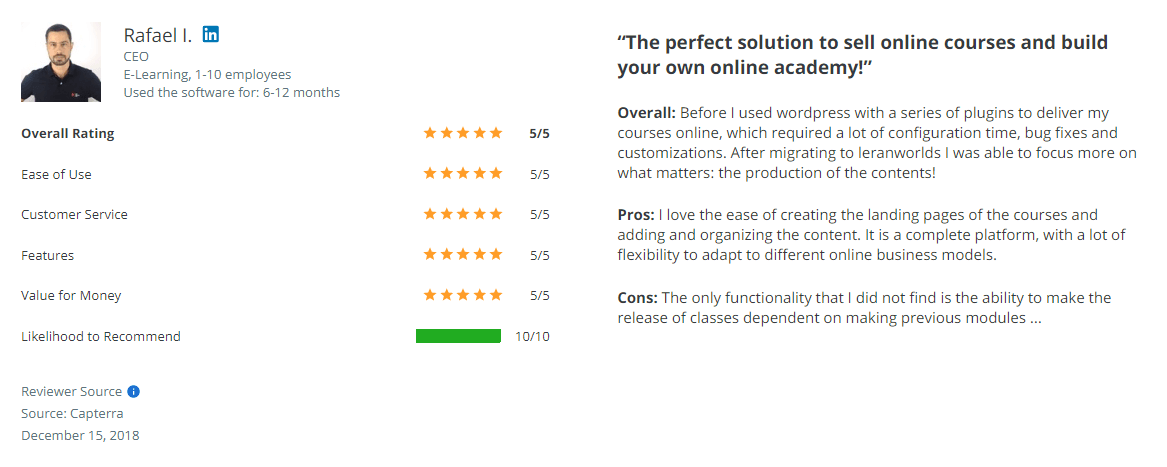LearnWorlds review on Capterra