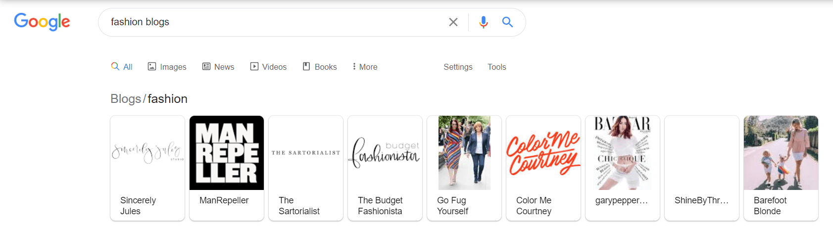 Fashion blogs search