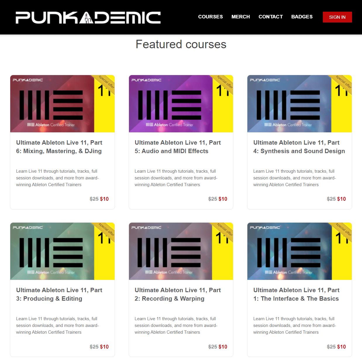 Punkademic courses