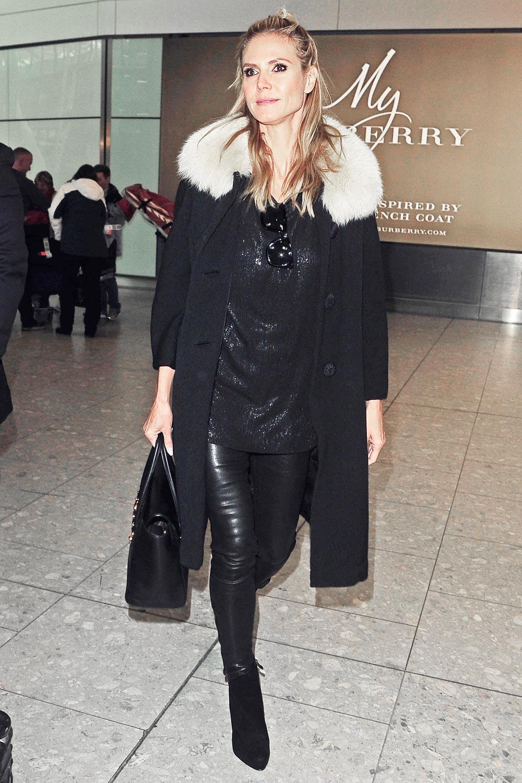 Heidi Klum At Heathrow Airport Leather Celebrities