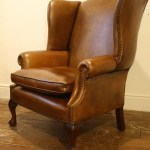 Wide Georgian Leather Wing Chair With Claw Ball Legs