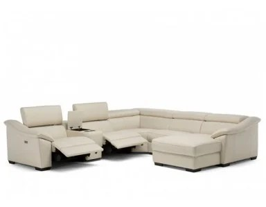 natuzzi editions c072 reclining leather sectional with adjustable headrest