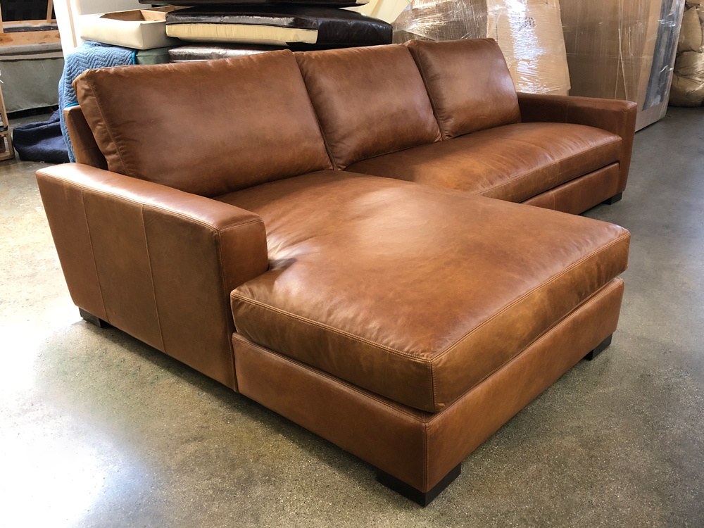 laf braxton leather sofa chaise