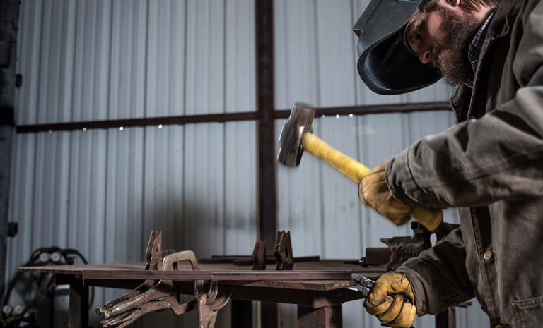 man using Leatherman crunch multi-tool