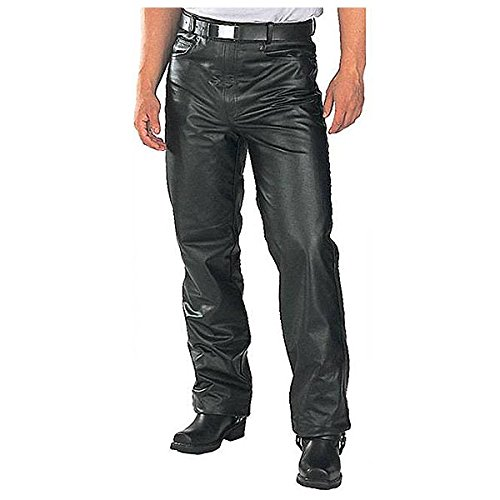 Xelement B7440 Mens Black Leather Motorcycle Overpants with Side Zipper and Sna 32