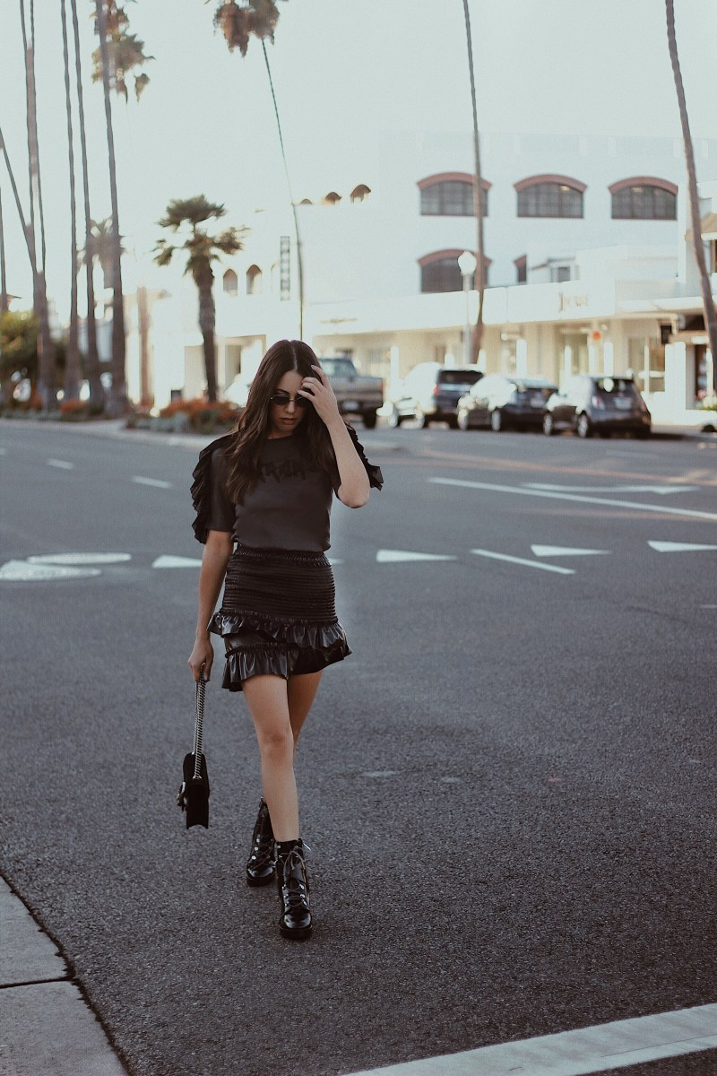 Patent Skirt x Tee x Combat Boots
