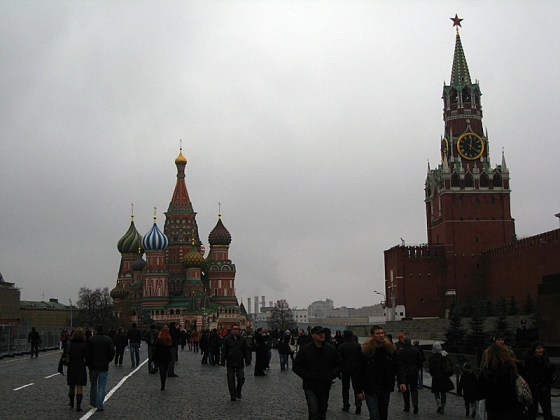 St. Basil's on the left, and one of the Kremlin Wall Towers on the right.